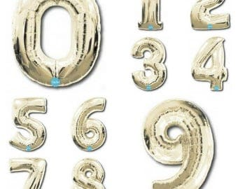 Jumbo  White Gold  100cm Numbers 0 - 9