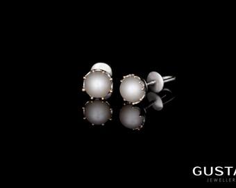 White Gold & Freshwater Pearl Earrings