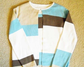Vintage Sweater Twin Set Color Block Blue Brown White Tan