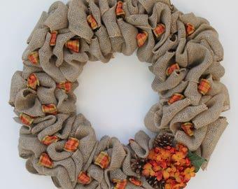 Burlap Wreath with Orange Hydrangea and Pine Cones