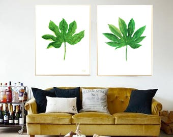 Aralia art print Green Aralia watercolor print Aralia painting Aralia room decor Tropic Leaf Aralia home decor Aralia art Aralia wall decor