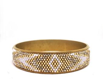 Gold White Peyote beaded bracelet Bangle beads Miyuki Delica