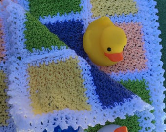 Peach, Yellow, Blue and Green Hand Crocheted Baby Blanket in Blocks