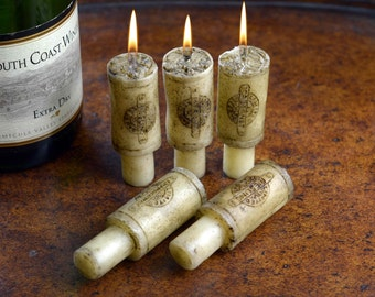 Wine Bottle Cork Candle Set, 6 Piece Merlot Scented, Wine Gifts, Weddings, Anniversary, Engagement, Special Occasion