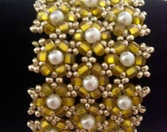 Beaded Flower Bracelet, Cuff Bracelet, Beaded Bracelet, Yellow Bracelet, Pearl Bracelet, Unique Bracelet