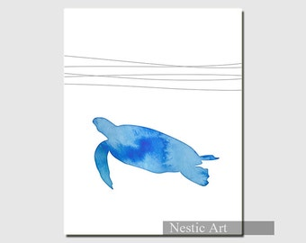 Sea turtle, turtle, blue, silhouette, animal, ocean, waves, home decor, water, blue water,