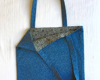 Tote Bag Cotton Blue Vines Print with Contrast Lining