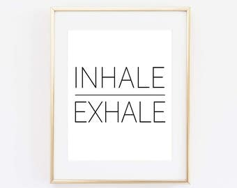 Yoga Art Print Relaxation Poster Inhale Exhale Wall Relax