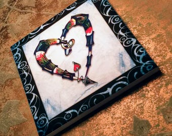 Heart in a Heart Tile Coaster / Wall Decoration-Blue