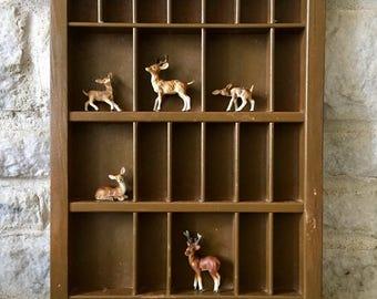 vintage shadow box - miniature display - curio display - hanging display
