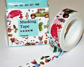Kawaii Country Life Japanese Washi Tape. Scrapbook. Stationery Masking Tape. Pretty tape.