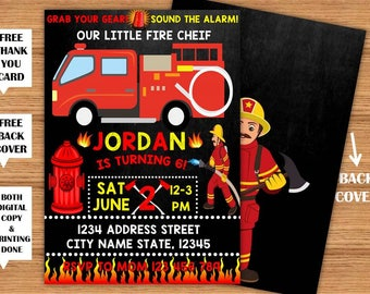 Fireman Invitation Firetruck Birthday Party Printable Invitation+Back Cover Firefighter Fire Engine Printed Invite+FREE Thank You Card