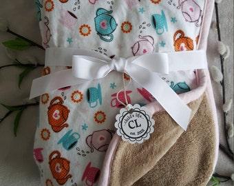 Baby girl minky blanket/girl baby blanket/teapot blanket/take home baby girl blanket/flannel girl blanket/security blanket/newborn/toddler