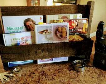 Rustic Cookbook Wall Shelf, Pallet Book Shelf, Kitchen Wall Decor, Rustic Book Shelf