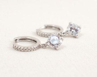 Wedding Bridal Cubic Zirconia and Swarovski Crystal Elements Silver Earrings JSB10066ESilver