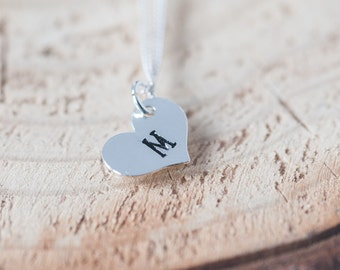 Initial Heart Charm Necklace Personalized Anniversary Gift Idea Hand Stamped Silver Charm Jewelry Monogram Necklace Gift for Girlfriend