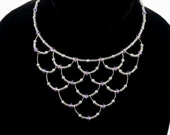 Sterling Silver & Swarovski Crystal Memory Wire Choker-4mm Violet