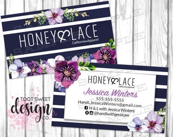 Honey and Lace Business Cards, Honey & Lace Consultant Biz Card, Navy Purple Floral, Custom Personalized Marketing Kit / Branding, PRINTABLE