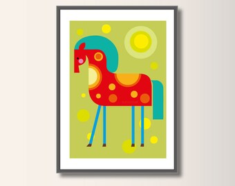 Horse, Nursery Poster, Nursery Decor, Nursery Wall Art, Nursery Decor, Scandinavian Poster, Minimalist