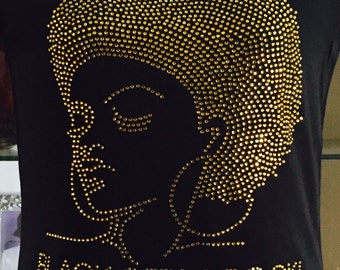 Black Girls Rock Natural Afro Gold Rhinestones Bling Fitted Shirt