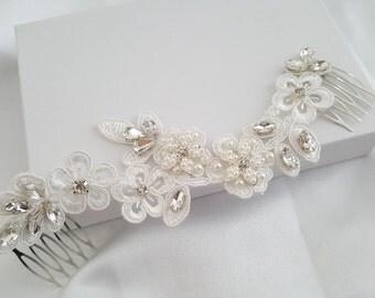 Bridal Headpiece, Bridal Lace Hair Piece, Crystal and Pearl Bridal Headpiece, Bridal Hair Halo, Crystal and Pearl Wedding Hair Piece.