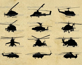 Digital SVG PNG JPG Helicopters, silhouette, vector, clipart, instant download