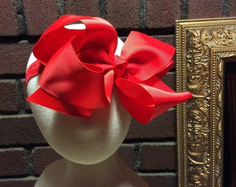 Red Oversized baby / toddler bow headband.