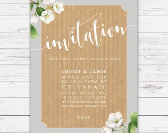 Wedding invitation in Botanical style - beautifully designed, personalised, customisable and pre-printed with your guests names