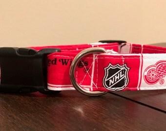 Dog Collar handmade- NHL Detroit Red Wings