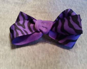 Purple Zebra Hair Bow