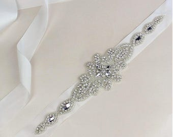Bridal sash, bridal belt, bridesmaid belt, sash belt, rhinestone belt, crystal sash, wedding dress belt, gatsby wedding