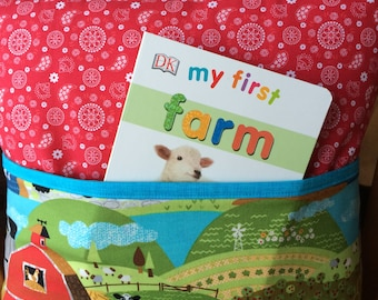 Unique storybook pocket pillow with board book! My First Farm book, reading, farm animals, baby shower gift, gift idea for any child