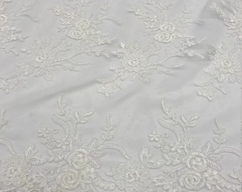 Ivory Floral Lace Mesh Fabric by the yard