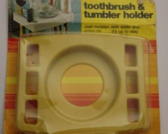 "Vintage 1977 Selfix, Inc | Self-Glueing Toothbrush & Tumbler Holder #2 207 | Yellow-Plastic | Retro 1970's | 3-1/2"" x 4-1/4"""