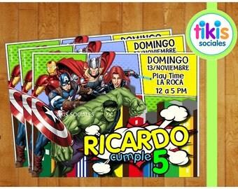 Superheros Avengers Invitation, Printable Design Hulk Captain America Thor Ironman