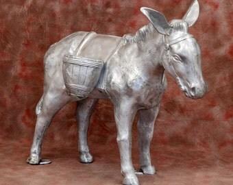 Aluminum Donkey With Basket Statue