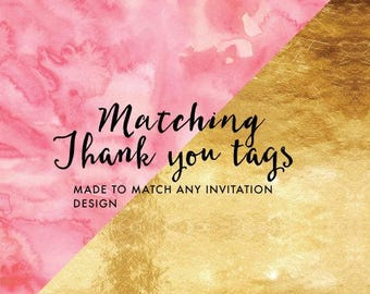 Matching Thank You Tags for any Little Paperie Design, Custom Birthday, Baby Shower, Bridal Shower, Kids Birthday, Thank you Tags, Custom Ma