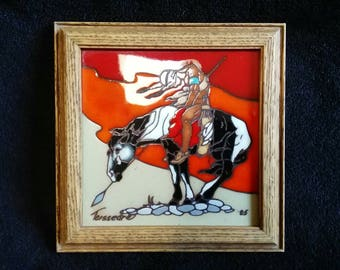 Vintage Teissedre Hand Painted 6 x 6 Tile - End of the Trail