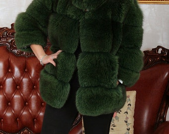 Fox fur coat jacket fur fox fur coats silberfuchs, Cape renard mexa
