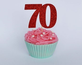 70th Birthday Cupcake Topper, 70th Birthday Party, Number Cake Toppers, Glitter Cake Toppers, Age Cake Topper, Party Supplies
