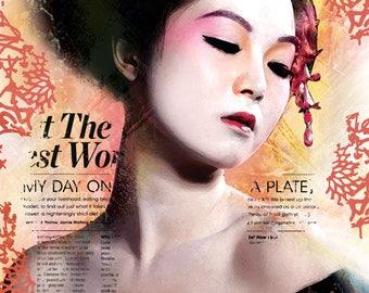 Pop art poster, pink, yellow, Orange, black, Japanese Geisha, digital print on white cardboard 260gr