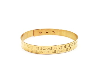 Bangle/bracelet gold philosophic message engraved