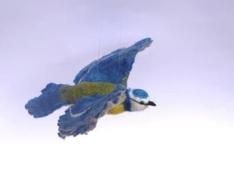 Bluetit, flying, bird, meise, felt