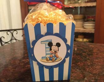 12 Baby Mickey Mouse Mini Party Favor Popcorn Boxes