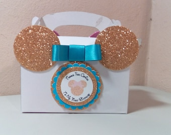 Minnie Mouse Pink and Gold/custom gable box/for party favors/gable boxes