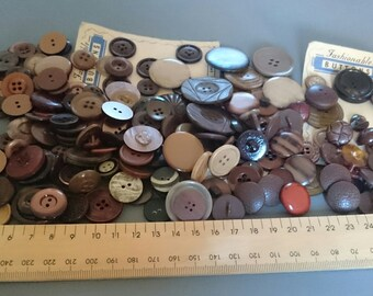 Vintage Buttons in Brown and Cream Tones Around 190 Mixed