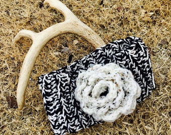 Black and  white crochet head band, ear warmer, earmuff with flower