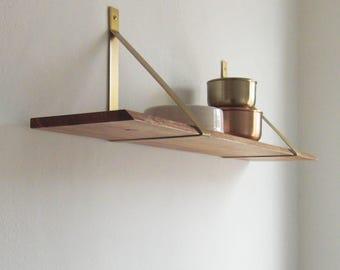 Brass brass wood wood shelf Elm wall shelf