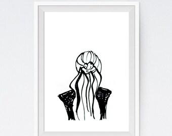 Fashion Print - Black and White Illustration - Sketch - Graphic Print