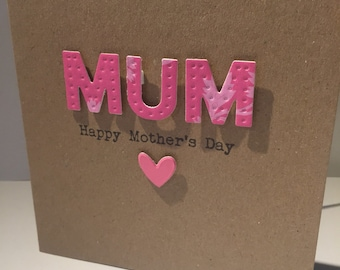 Mothers Day card. Handmade. Mum. Mothering Sunday.